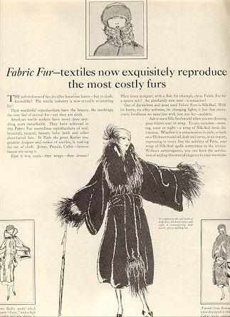 1921 Ladies Home Journal Fabric Fur Magazine Advertisement