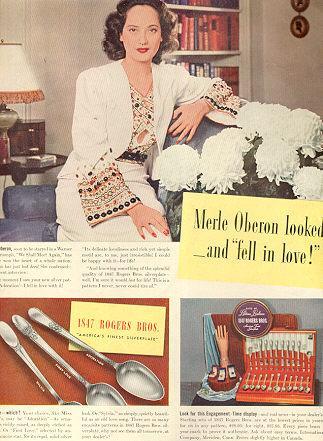 Merle Oberon 1847 Rogers Silverplate Magazine Advertisement