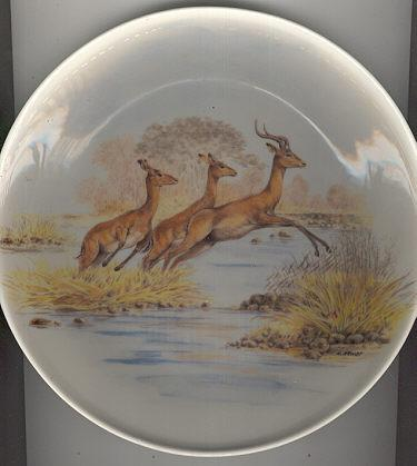Crown Decor Plate With Jumping Impalas