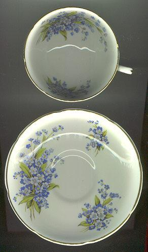 Royal Grafton China Cup and Saucer with Blue Flowers