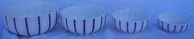 Set of 4 Blue and White German Pottery Nesting