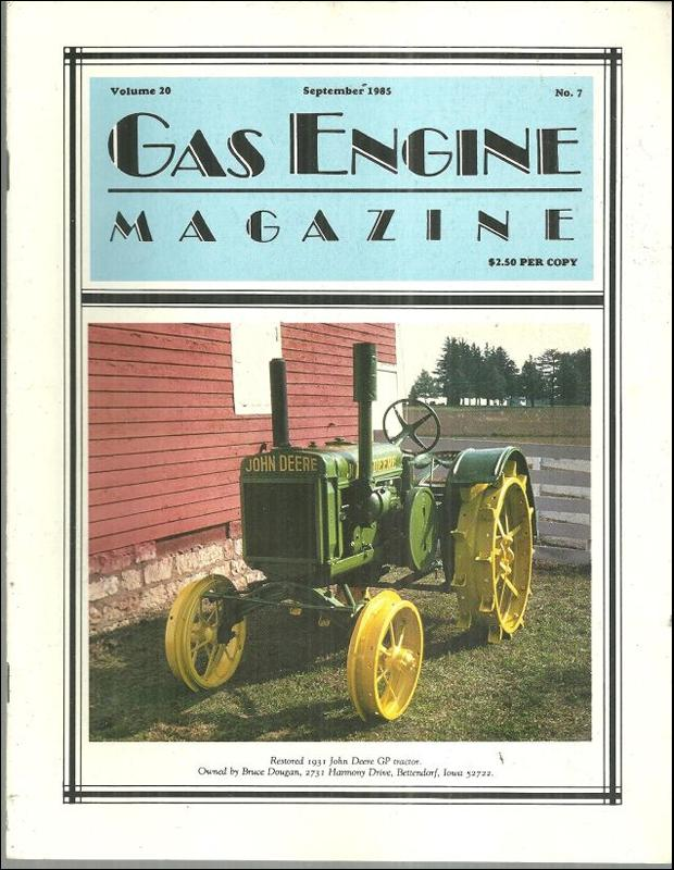 Gas Engine Magazine September 1985 Restored 1931 John Deere GP Tractor on Cover