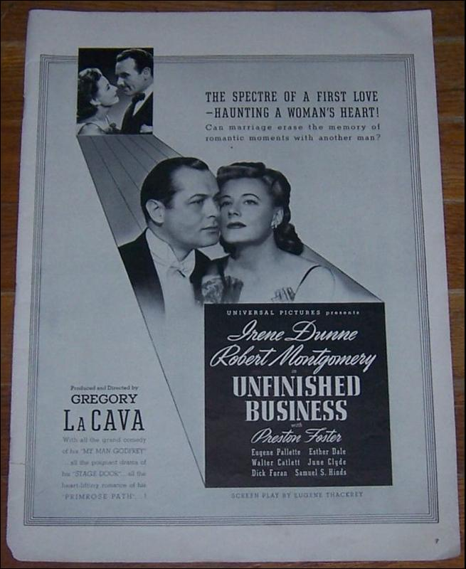 1941 Unfinished Business Starring Irene Dunne and Robert Montgomery Advert