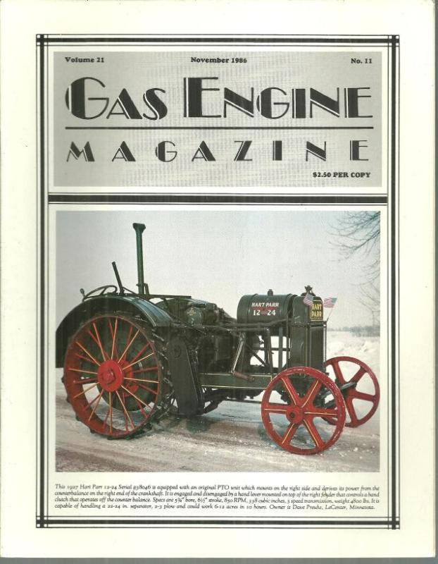 Gas Engine Magazine November 1986 1927 Hart Parr 12-24 on Cover