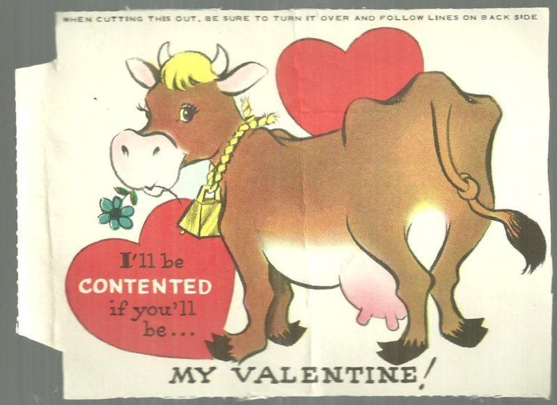 Vintage Valentine With Cow I'll be Contented If You'll Be My Valentine