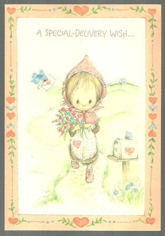 Vintage Betsey Clark Hallmark Valentine With Little Girl A Special Delivery Wish