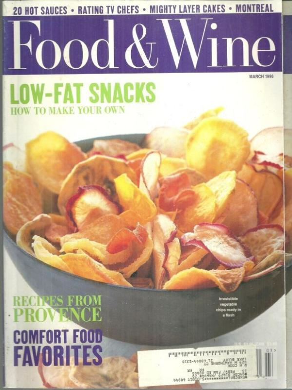 Food and Wine Magazine March 1996 Low-Fat Snacking on the Cover, Comfort Food
