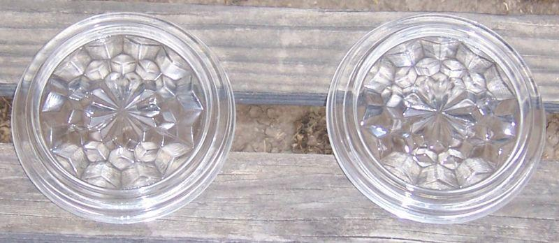 Pair of Vintage American Fostoria Clear Glass Coasters