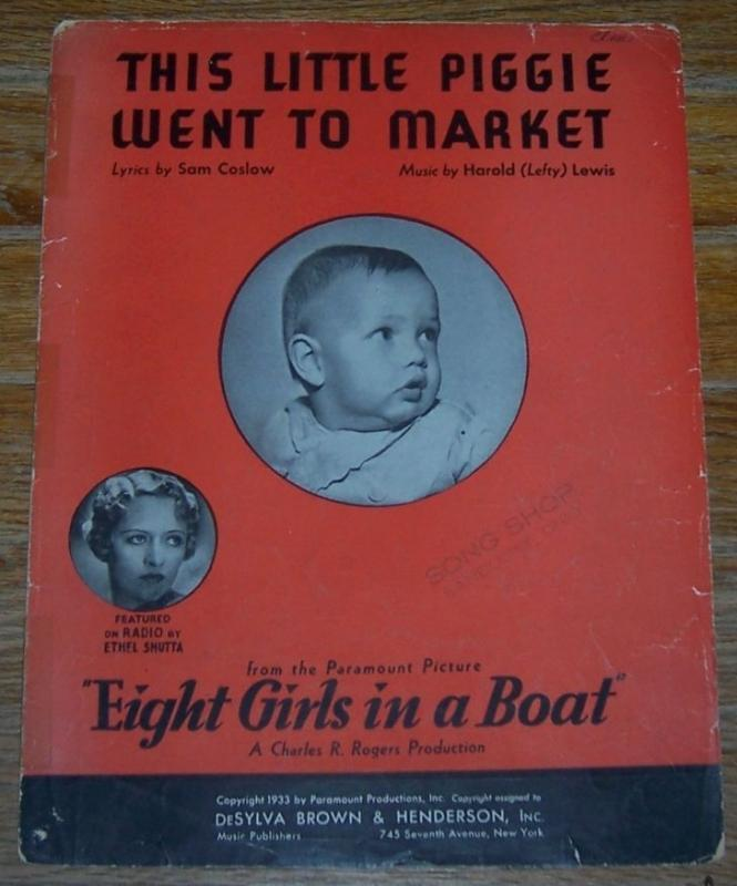 This Little Piggie Went to Market From Eight Girls in a Boat 1933 Sheet Music