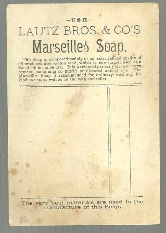 Victorian Trade Card for Lautz Bros Marseilles White Soap With Girl on Riverbank