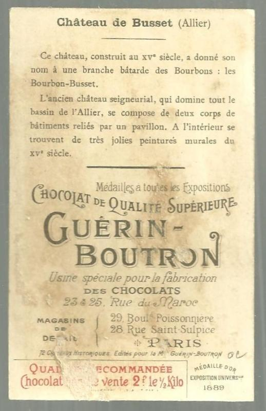 Victorian Trade Card For Chocolat Guerin Boutron with Chateau de Busset