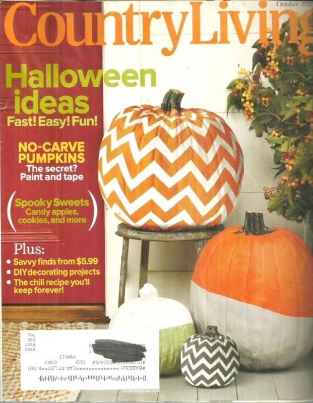 Country Living Magazine October 2012 Halloween Issue/eay Pumpkins/Candy Apples