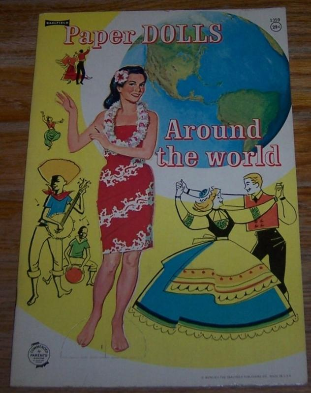Paper Dolls Around the World Saalfield 1964 Uncut Paper Doll Book