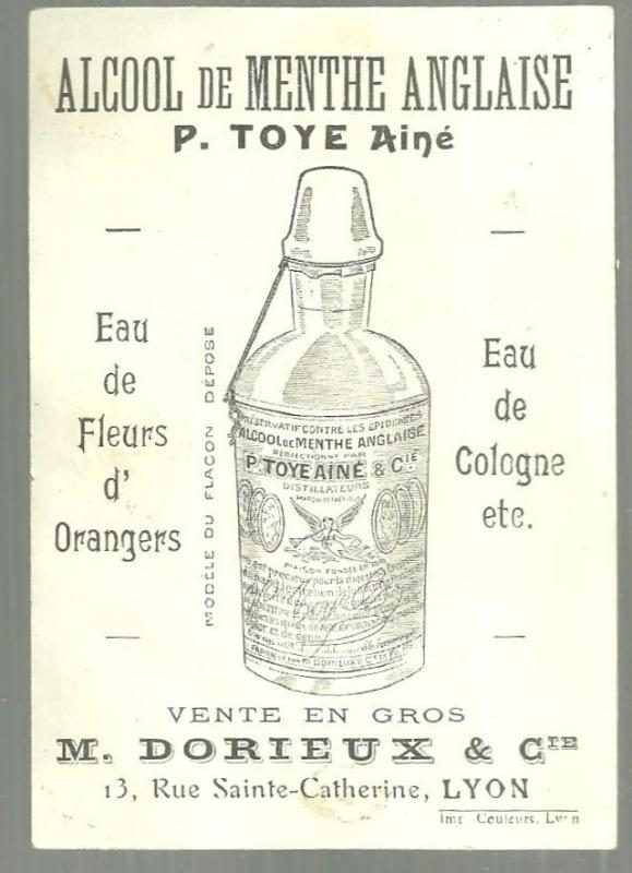 Victorian Trade Card for Alcool de Menthe Anglaise Eau De Cologne, Lyon w/Cart