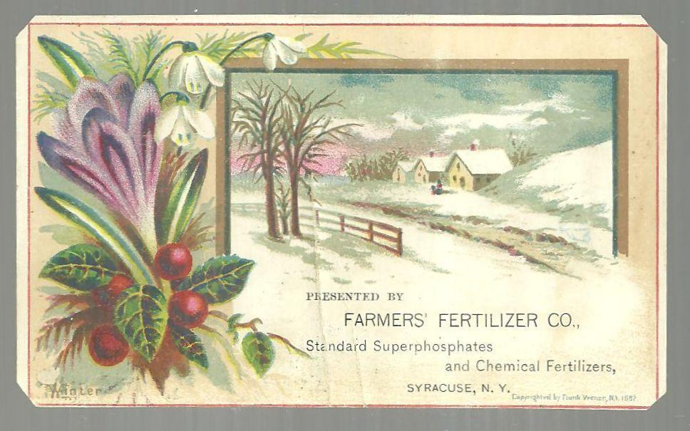Victorian Card for Farmers' Fertilizer, Syracuse, New York with Winter Landscape