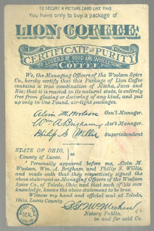 Victorian Trade Card For Lion Coffee With Flower Filled Shoe and Large Rose