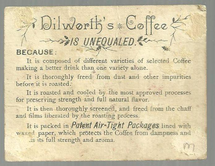 Victorian Trade Card Dilworth's Coffee With Lady on Phone and Boys With Trophy