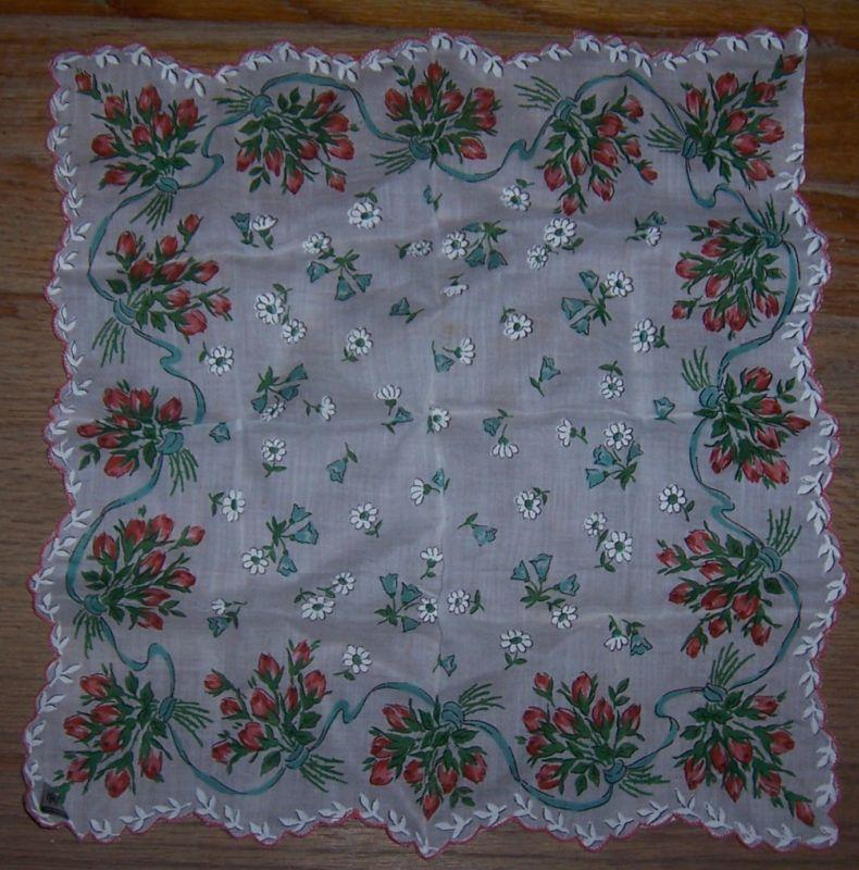 Vintage Hermann Pink Rose and White Floral Printed Handkerchief
