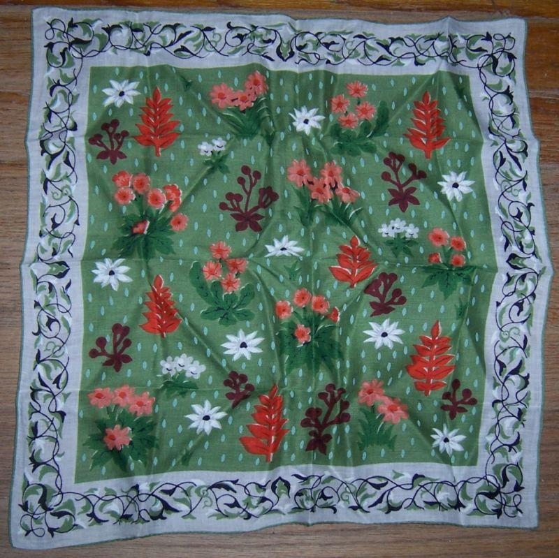 Vintage Modern Printed Handkerchief with Flowers on a Green Grass Background