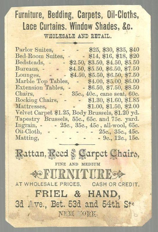 Victorian Trade Card For Friel and Hand With Colonial Courting Couple