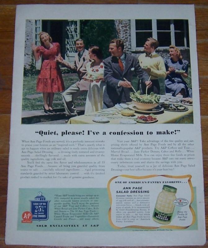 1941 A&P Ann Page Salad Dressing Life Magazine Color Advertisement