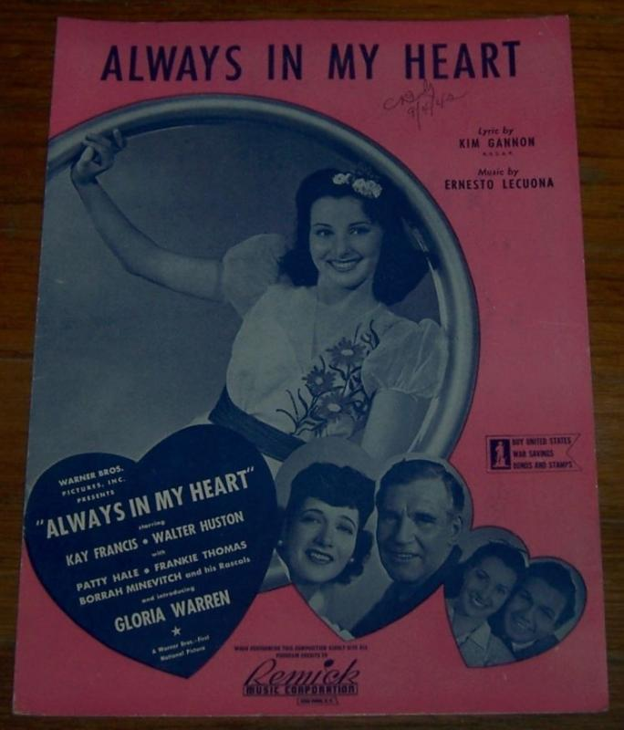 Always in My Heart Starring Kay Francis and Walter Huston 1942 Sheet Music