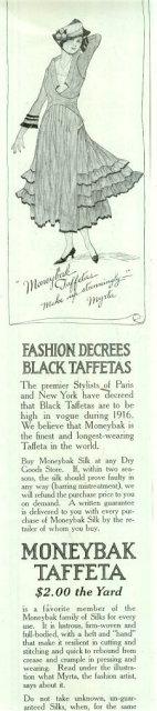Moneybak Black Taffetas 1916 Advertisement