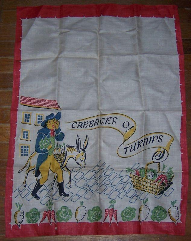 Vintage Large Kitchen Towel with Vegetable Man Cabbages O' Turnips w/ Red Border