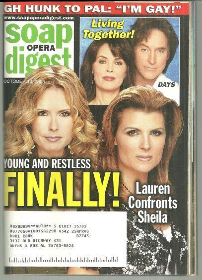 Soap Opera Digest October 18, 2005 Lauren and Shelia Young and Restless Cover