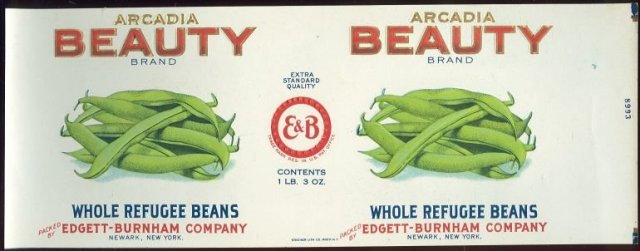Arcadia Beauty Brand Whole Refugee Beans Can Label