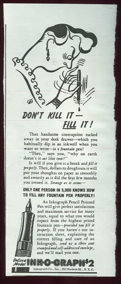 1943 World War II Ink-O-Graph Magazine Advertisement