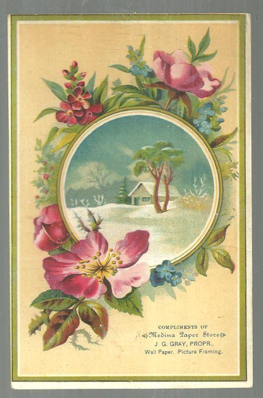 Victorian Trade Card for Medina Paper Store With Snowy Landscape and Flowers