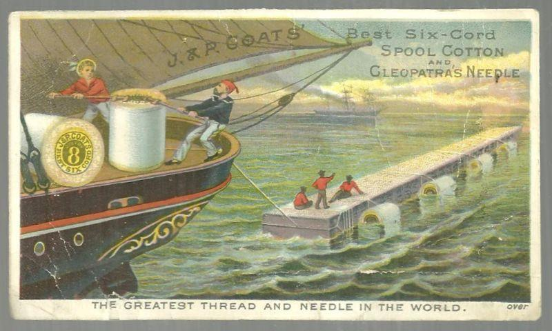 Victorian Trade Card for J. & P. Coats'  Thread with Cleopatra's Needle