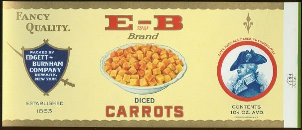E-B Brand Diced Carrots Can Label