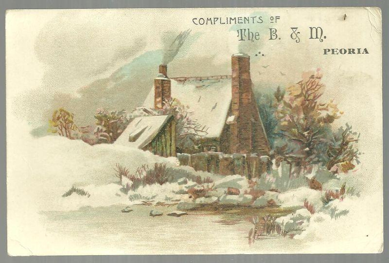 Victorian Trade Card Compliments of the B. and M. Store Peoria Illinois Snowy House