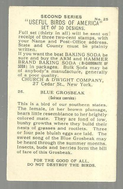 Victorian Trade Card for Arm and Hammer Baking Soda Useful Birds Blue Grosbeak