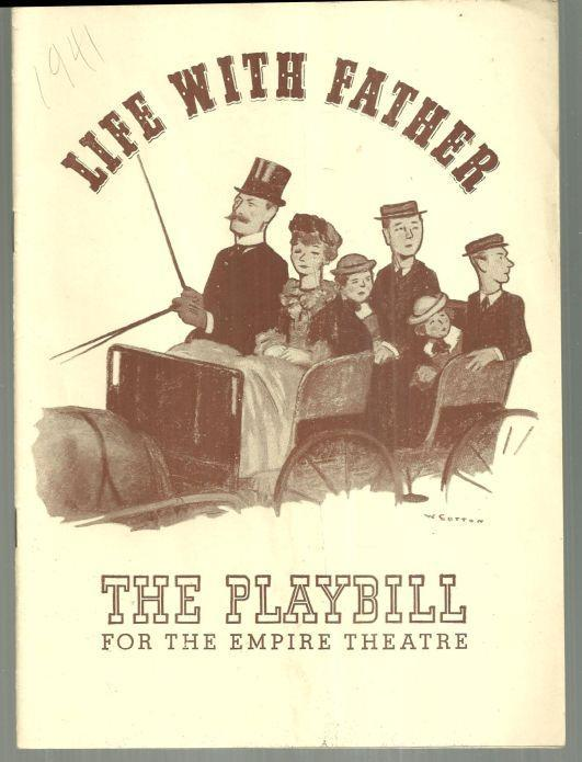 Playbill Life With Father, Monday August 18, 1941 Starring Percy Waram