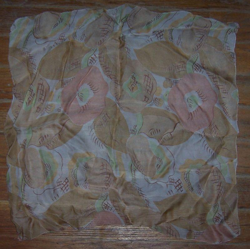Vintage Handkerchief with Printed Brown Flowers and Leaves