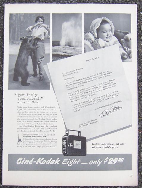 1940 Cine Kodak Eight Life Magazine Advertisement Mr. Betts Makes Movies