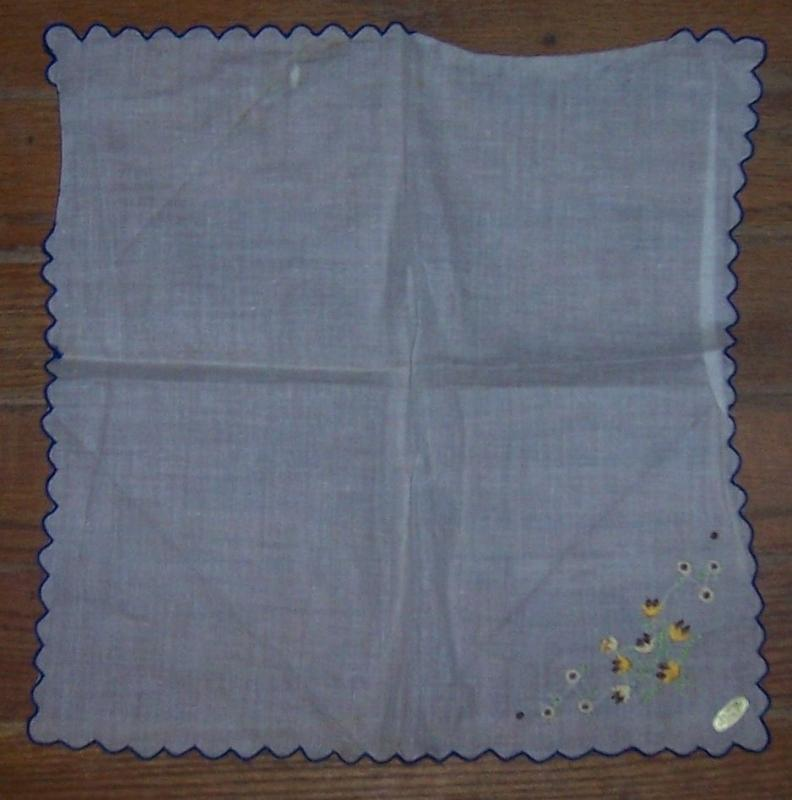 Vintage White Cotton Handkerchief with Embroidered Brown and Yellow Flowers