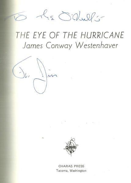 Eye of the Hurricane Signed by James Conway Westenhaven 1974 1st edition Poetry