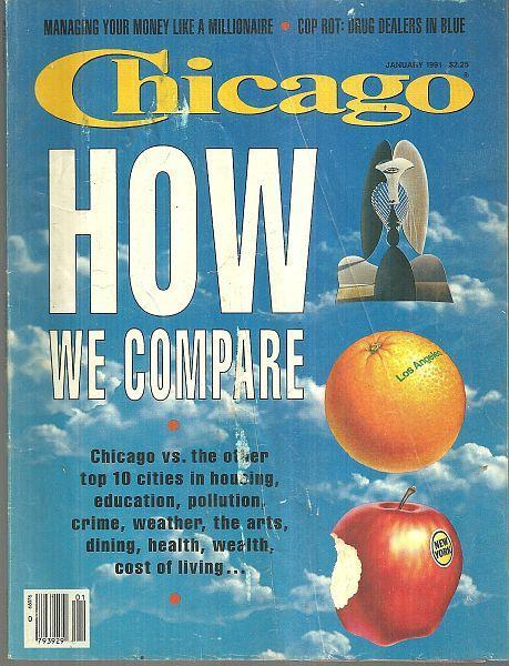 Chicago Magazine January 1991 How We Compare on cover/Mystery Authors