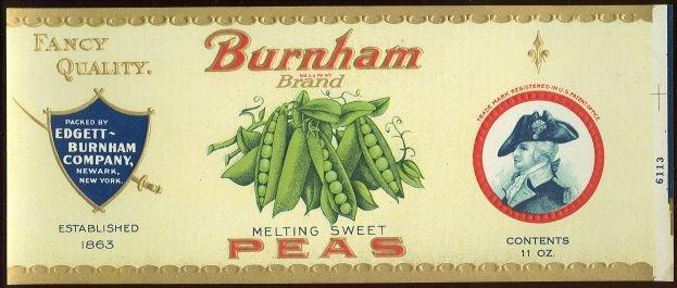Burnham Brand Melting Sweet Peas Can Label