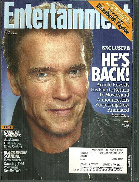 Entertainment Weekly Magazine April 8, 2011 Arnold Schwarzengger/Liz Taylor