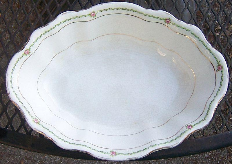 Vintage Homer Laughlin China Hudson Shape Vegetable Serving Bowl With Pink Roses