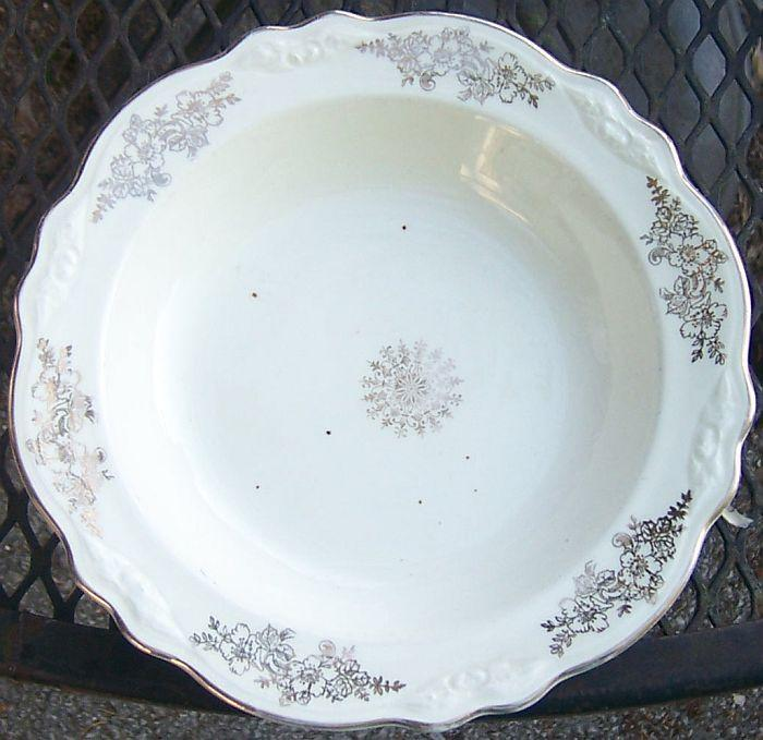 Vintage Homer Laughlin Pottery Virginia Rose Woodland Gold Flowers Soup Bowl