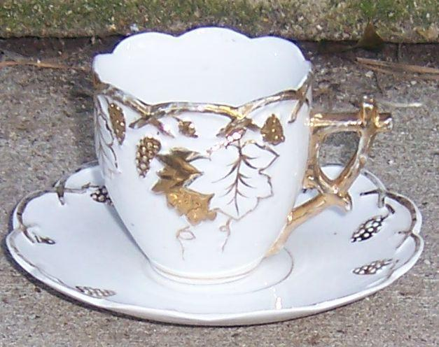 Vintage White Cup and Saucer With Raised Gold Grapes and Grape Vines