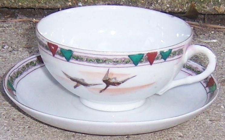 Vintage Te-Oh Nippon Cup and Saucer Handpainted Flying Geese and Pink Clouds