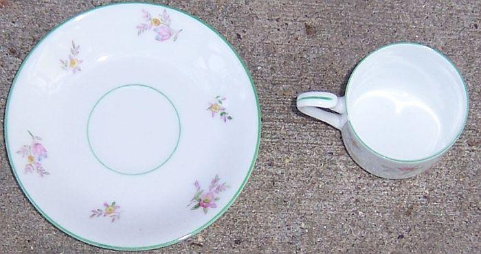 Vintage Noritake China Cup and Saucer with Scattered Pink Roses and Green Trim