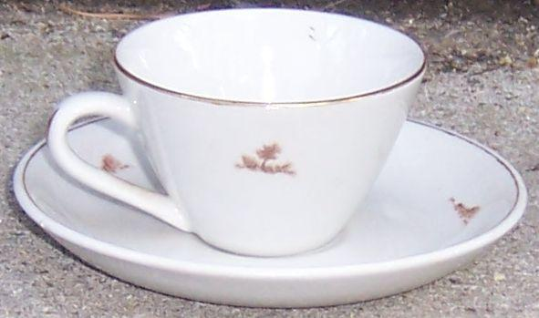 Vintage Royal China Cup and Saucer with Scattered Brown Trees and Gold Trim
